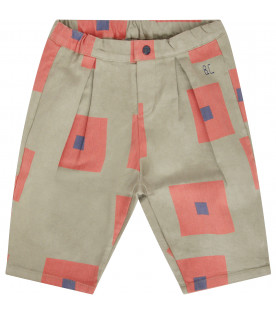 BOBO CHOSES Military green pants witth orange and blue square