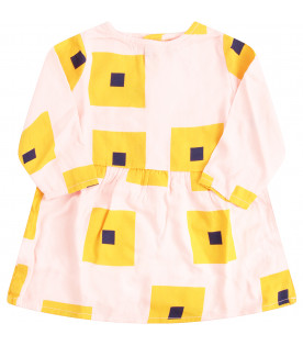 BOBO CHOSES Pink dress with yellow and blue square