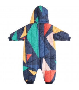 BOBO CHOSES Blue overall with colorful geometrical figures