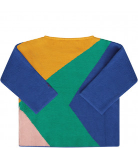 BOBO CHOSES Multicolor sweater with red logo