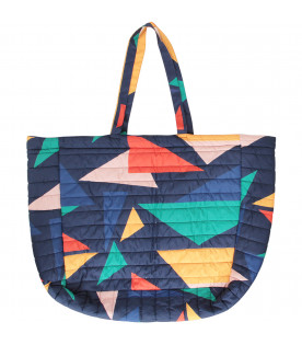 BOBO CHOSES Tote bag blu con stampa colorata