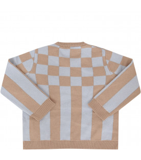 FENDI KIDS Beige and light blue sweater with check