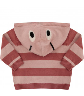 STELLA MCCARTNEY KIDS Pink striped girl cardigan