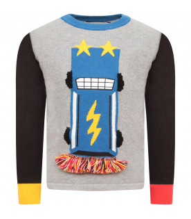 STELLA MCCARTNEY KIDS Grey boy sweater with colorful car
