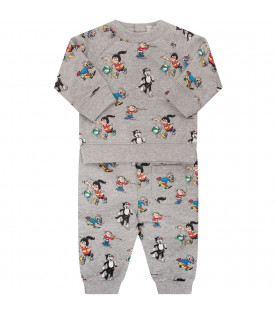 STELLA MCCARTNEY KIDS Grey tracksuit with colorful print