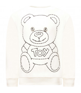 MOSCHINO KIDS Felpa bianca con Teddy Bear nero