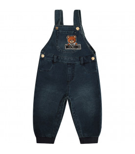 MOSCHINO KIDS Blue dungarees with colorful Teddy Bear