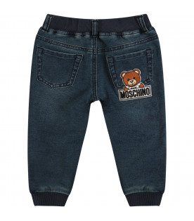 MOSCHINO KIDS Jeans blu con Teddy Bear colorato