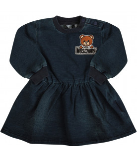 MOSCHINO KIDS Blue dress with colorful Teddy Bear