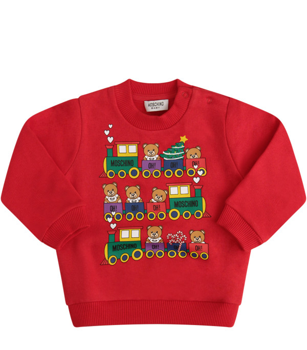 MOSCHINO KIDS Christmas red sweatshirt with colorful Teddy Bear