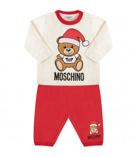MOSCHINO KIDS Christmas red and white suit with Teddy Bear
