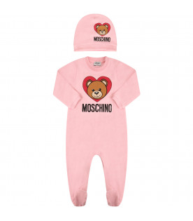 MOSCHINO KIDS Set rosa con Teddy Bear e cuore