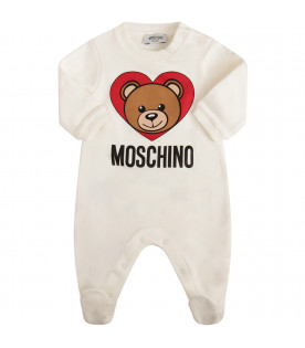 MOSCHINO KIDS White set with Teddy Bear and heart