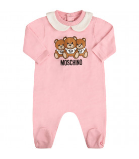 MOSCHINO KIDS Pink set with Teddy Bear