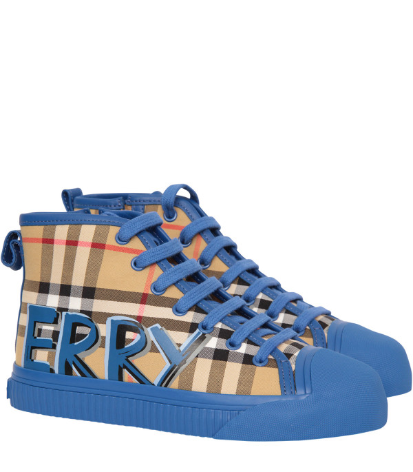 BURBERRY KIDS High sneaker with blue detail