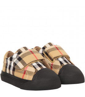BURBERRY KIDS Beige trainers with black logo