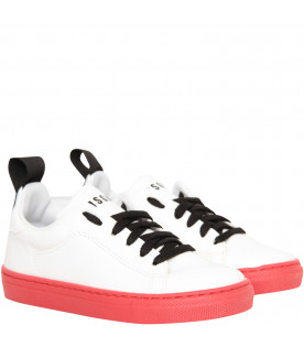 MSGM KIDS White sneaker with logo and red sole