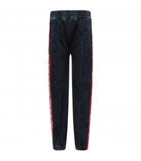 MSGM KIDS Blue denim boy jeans with red stripes and white logo