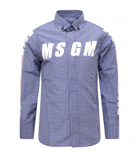 MSGM KIDS Blue and white boy checked shirt