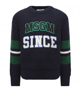 MSGM KIDS Blue boy sweater with patch