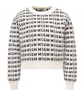 MSGM KIDS White girl sweater with black all-over