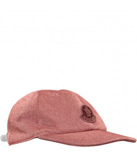 MONCLER KIDS Pink hat with purple logo