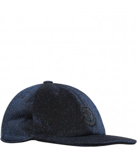 Blue hat with black logo