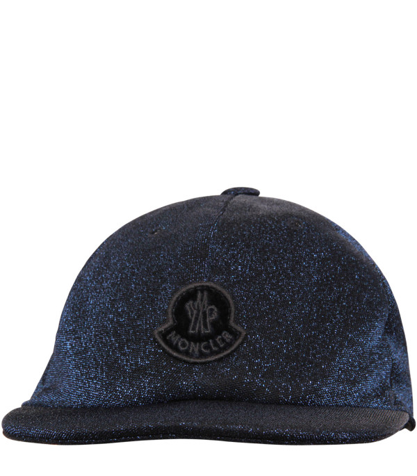 MONCLER KIDS Blue hat with black logo