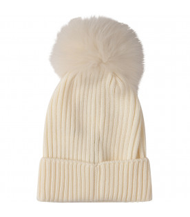 MONCLER KIDS White hat with pom-pom