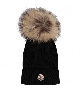 MONCLER KIDS Black hat with pom-pom