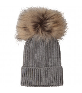 MONCLER KIDS Grey hat with pom-pom