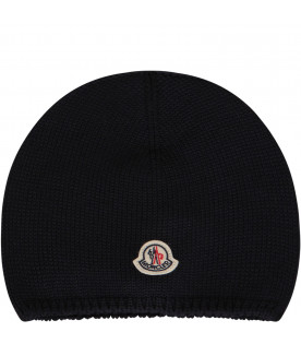 MONCLER KIDS Blue beanie hat with iconic logo