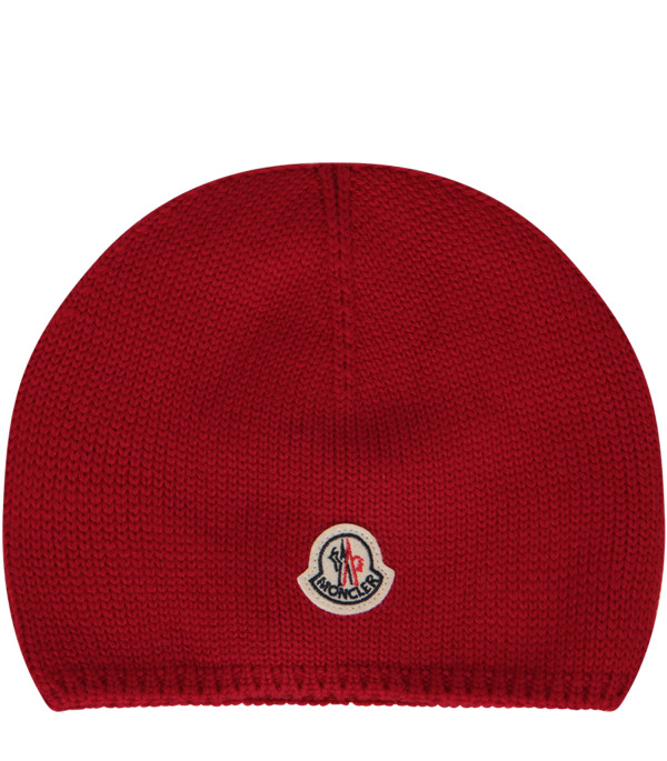 MONCLER KIDS Red beanie hat with iconic logo