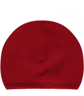 Red beanie hat with iconic logo