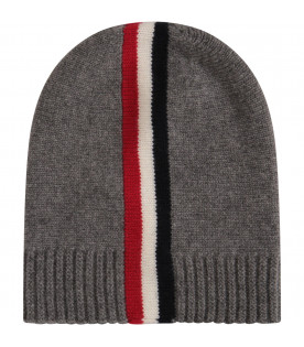 MONCLER KIDS Grey hat with blue, red and white stripes