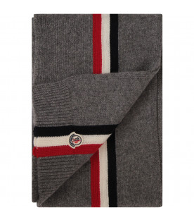 MONCLER KIDS Grey scarf with blue, red and white stripes