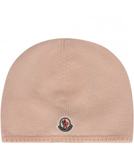 MONCLER KIDS Pink beanie hat with iconic logo