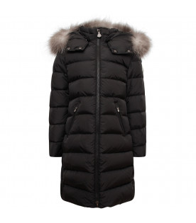 MONCLER KIDS Bordeaux girl jacket with fur