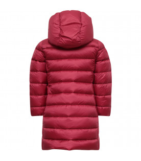 MONCLER KIDS Bordeaux girl jacket with logo