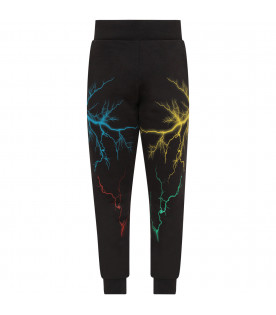 MARCELO BURLON KIDS Black boy sweatpant with colorful bolts