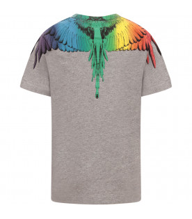 MARCELO BURLON KIDS T-shirt bambino grigia con piume colorate