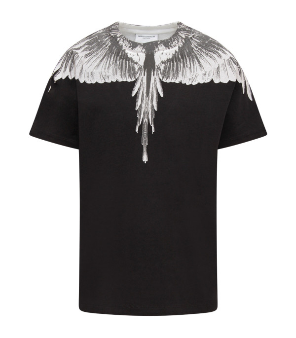 MARCELO BURLON KIDS Black and white boy T-shirt with feathers