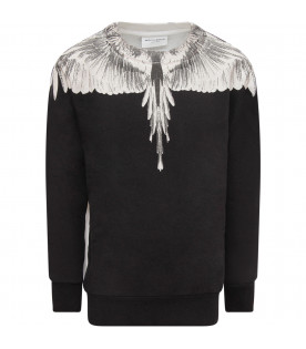 MARCELO BURLON KIDS Black and white boy sweatshirt with feathers