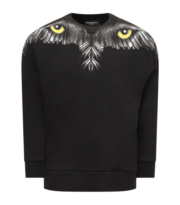 MARCELO BURLON KIDS Black girl sweatshirt with yellow eyed owl