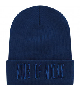 MARCELO BURLON KIDS Blue and black hat