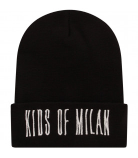 MARCELO BURLON KIDS Black hat with white logo