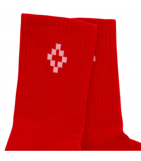 MARCELO BURLON KIDS Red socks with white logo