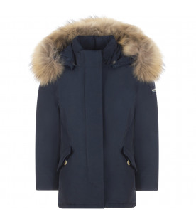WOOLRICH KIDS Blue girl jacket with white logo