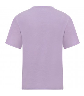 Lilac girl T-shirt with neon pink print
