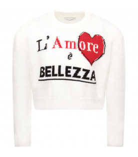 DOLCE & GABBANA KIDS White girl sweater with red heart